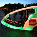 Neon taxi during Festival of Lights