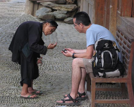 Tony Talking to Old Woman in Zhaoxing