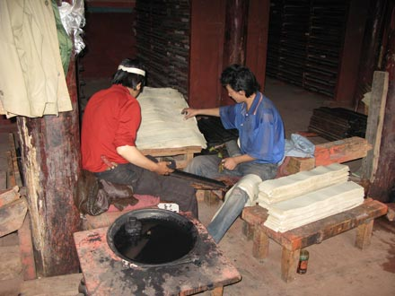 Workers in Bakong Printing Monastery in Dege