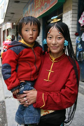 Khampa Woman with Child in Dege