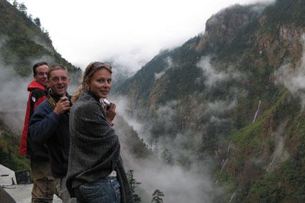 Tony, Dimitri and Irina Enjoying the Nepalese Landscape