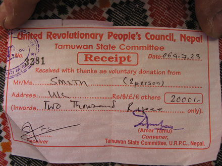 Maoist Receipt