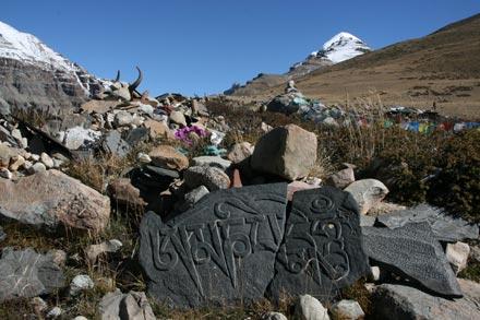 Mani Stones and Yak Skulls on Mt. Kailash Kora
