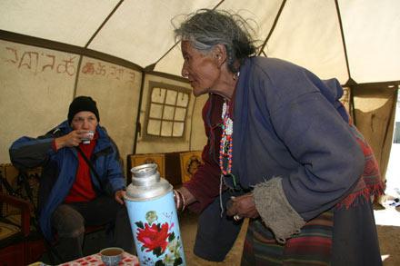 Inside the Tea Tent on Kailash Kora