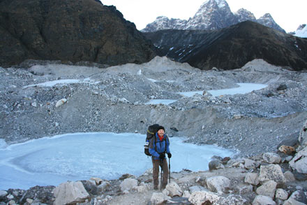 Frozen Lakes on Ngozumpa Glacier