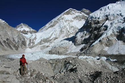 Everest South Base Camp from Glacial Moraine