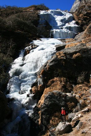 Thomas next to Frozen Waterfall