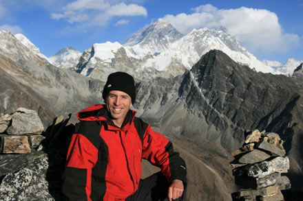Tony in Front of Mt. Everest on Gokyo Ri