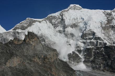 Avalanche off of Gyachung Kang, Nepal