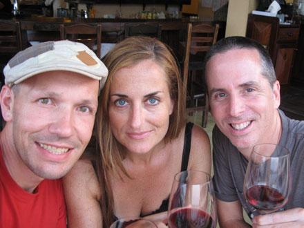 Thomas, Beverly and Thomas at Foreign Correspondents' Club at Phnom Penh