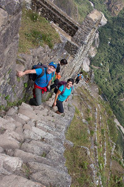 Hiking down from Huayna Picchu