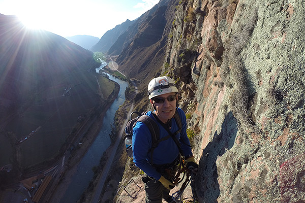 During via ferrata in the Sacred Valley