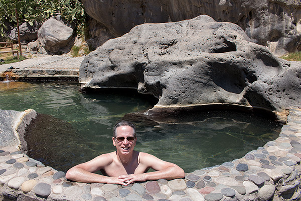 Tony in the Colca Lodge hot springs