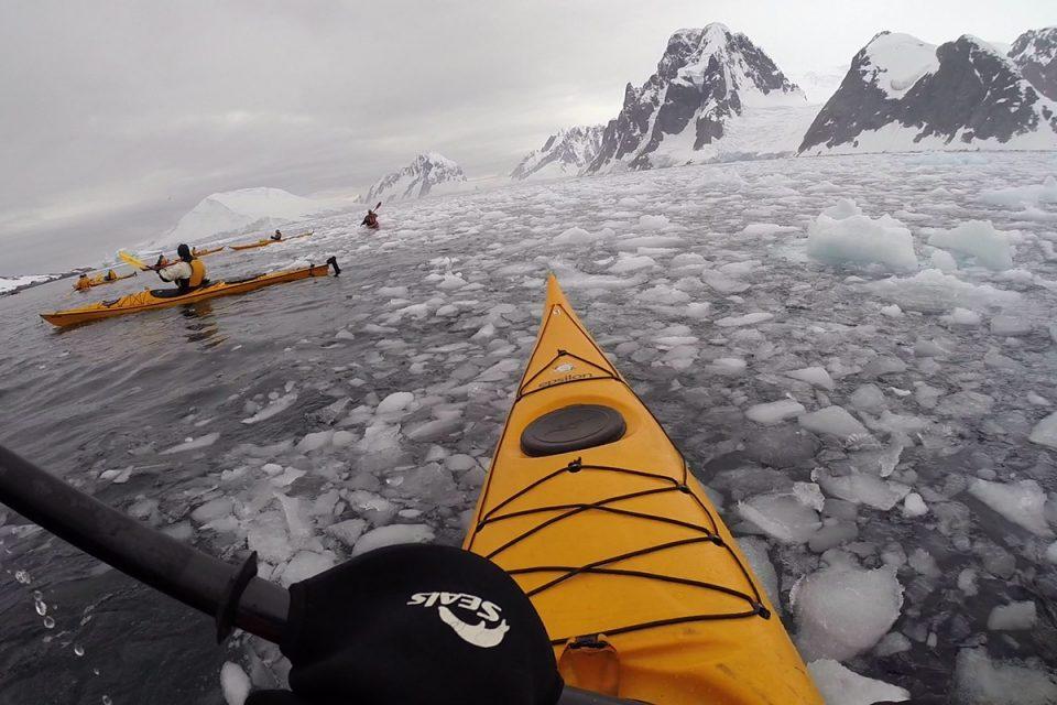 Kayaking in Antarctica through brash ice