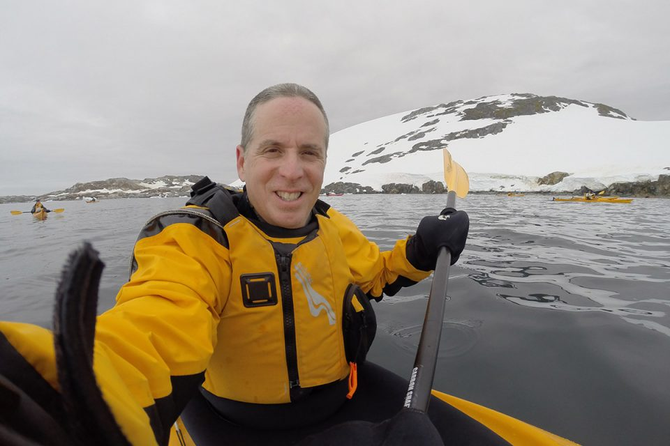 Selfie while kayaking in Antarctica