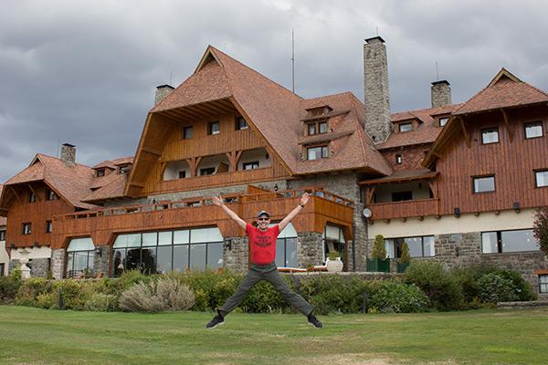 Happy Thomas in front of the Llao Llao