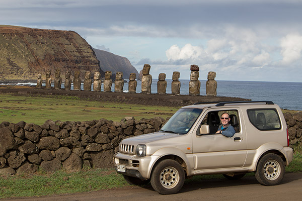 Thomas stops to take in Ahu Tongariki