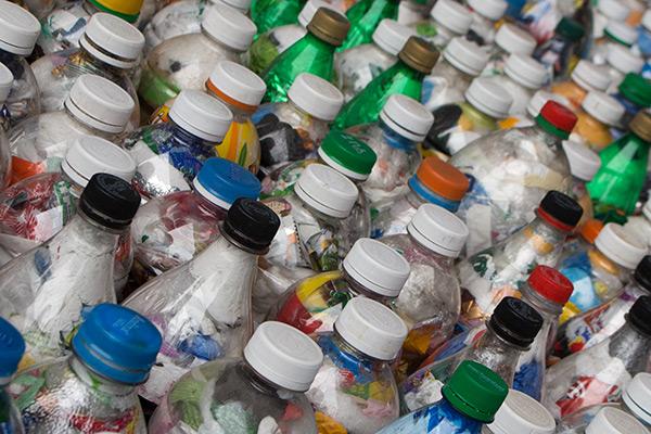 Bottle art in Barrio Bellavista, Santiago