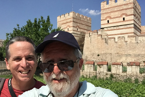 Tony and Larry walking the Theodosian Walls