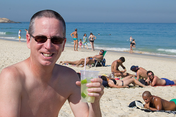 Tony at Ipanema Beach in Rio de Janeiro, Brazil