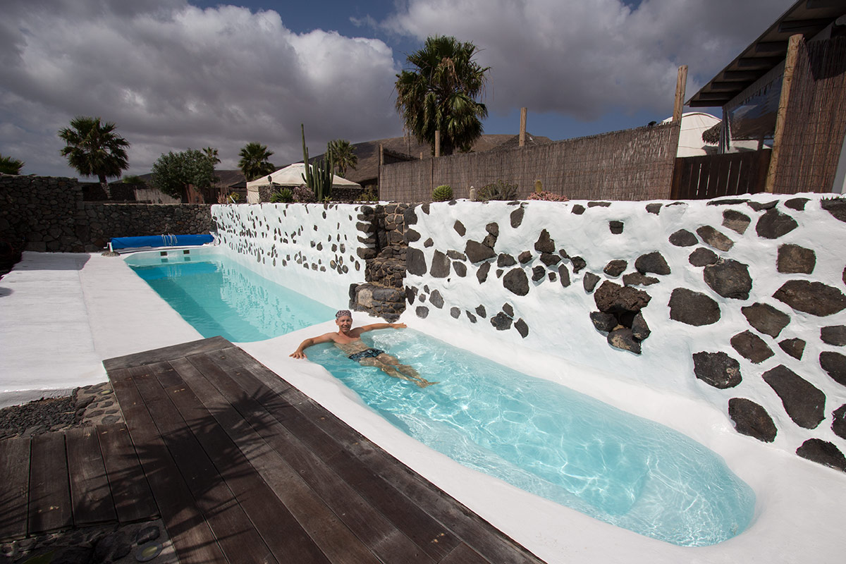 Solar-heated pool at Finca de Arrieta