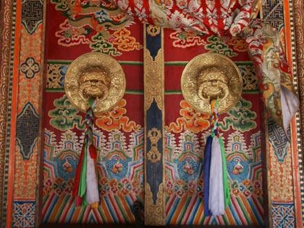 Knockers on Intricate Monastery Door