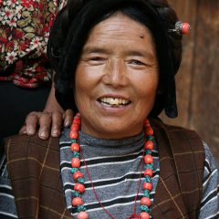 Qiang woman with traditional hairstyle