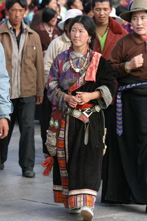 Pilgrims Doing Kora Around The Jokhang, Lhasa