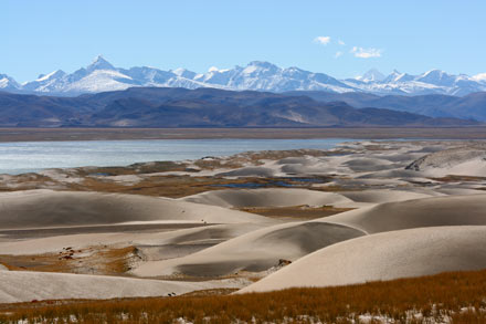 Sand Dunes, Lake and the Himalayas