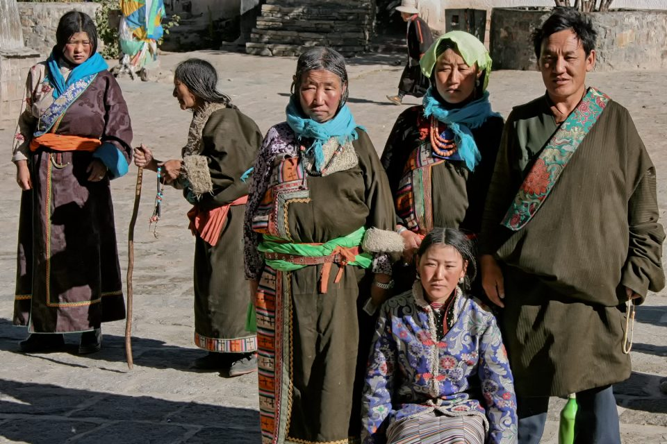 Tibetan pilgrims in the Palcho Monastery in Gyantse