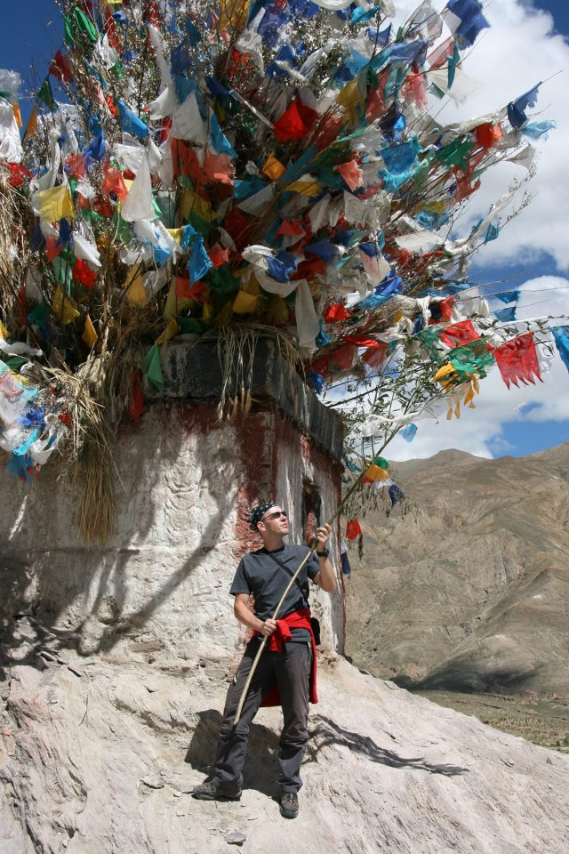 Thomas at a stupa above Gyantse, Tibet