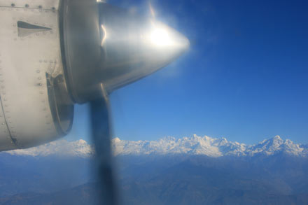View of the Himalayas on the Way to Lukla
