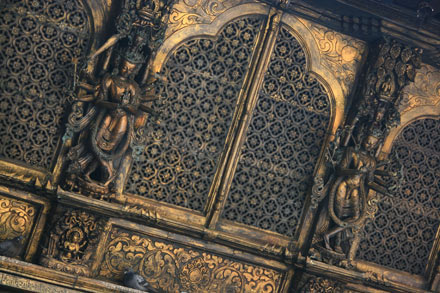Intricate Metalwork at Golden Temple in Patan