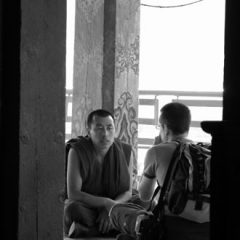 Tony in Philosophical Discussion with Tibetan Monk