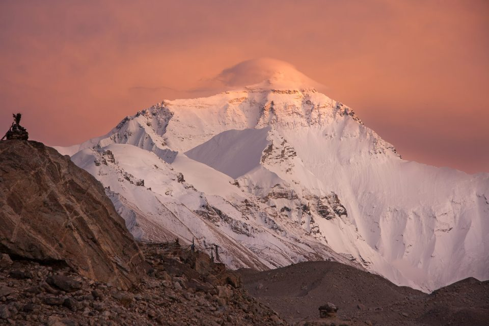 View of Everest from the base camp in Tibet