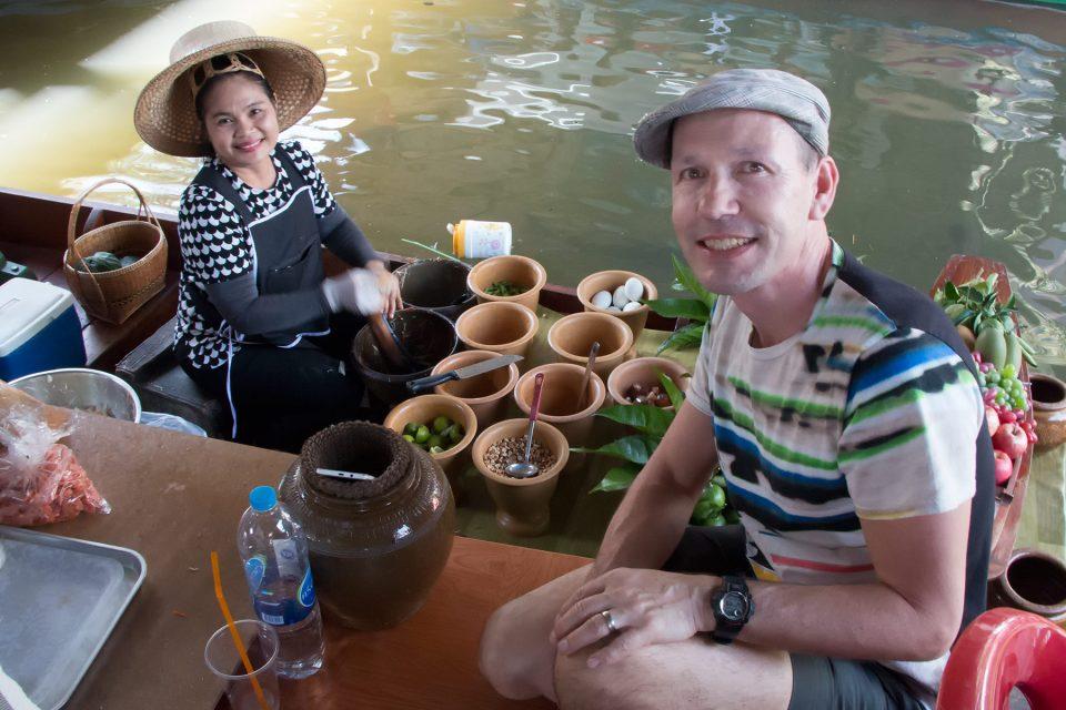 Thomas ordering green papaya salad