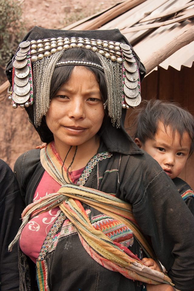 Akha woman with her child