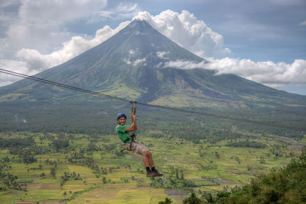 Thomas Zip-Lines Past Mt. Mayon