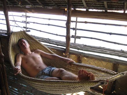 Tony relaxes in Krystal Lodge