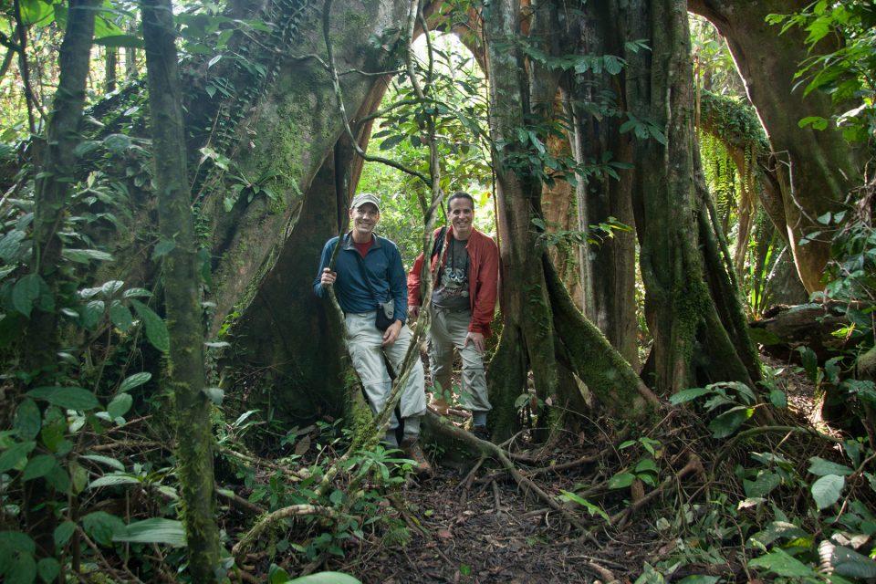 Tony and Thomas hiking in Kinabatangan
