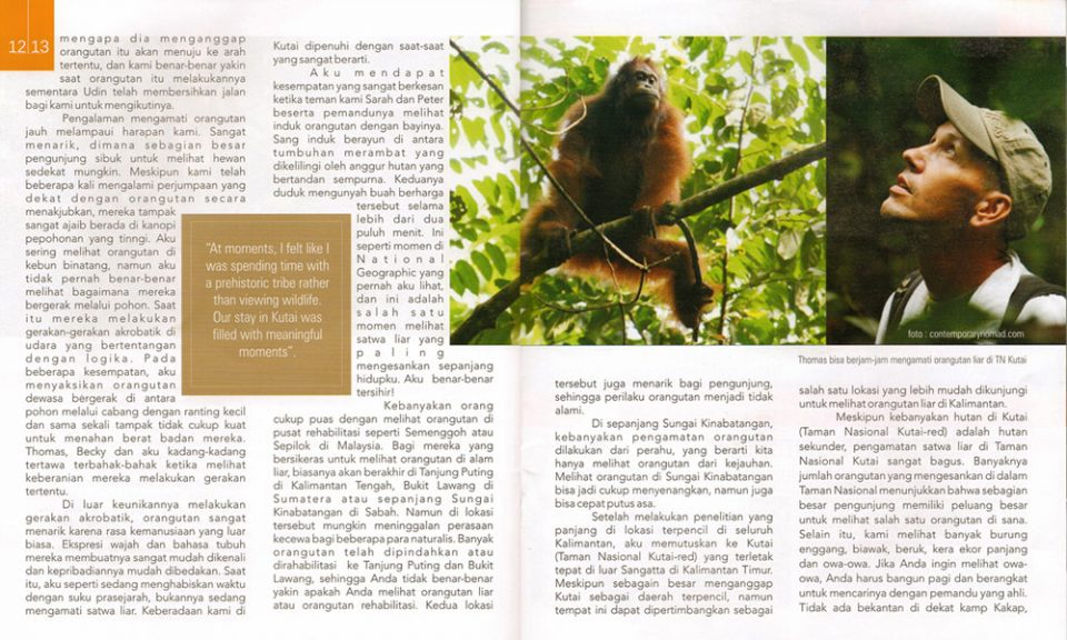 Orangutan brochure with Thomas
