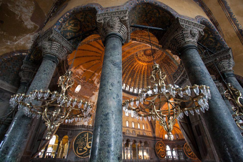 Ancient columns of Hagia Sophia