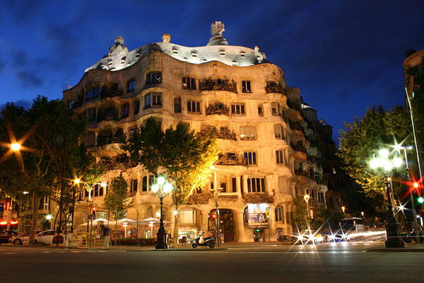 Casa Mila at night