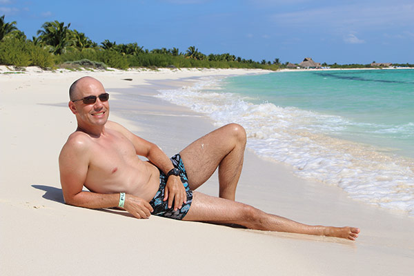 Thomas enjoys the isolated beach at Punta Sur