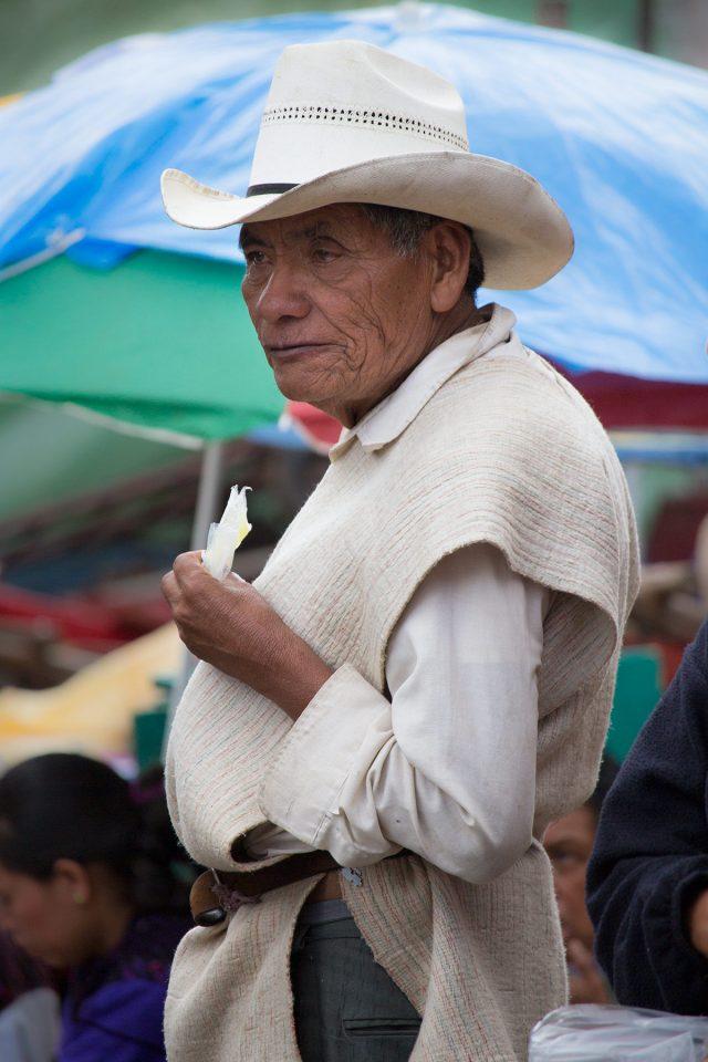 Man at a market in Chiapas