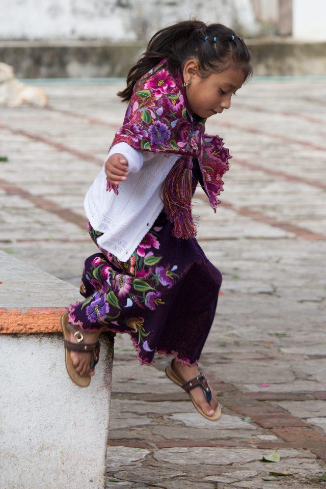 Little girl jumpin in Chiapas