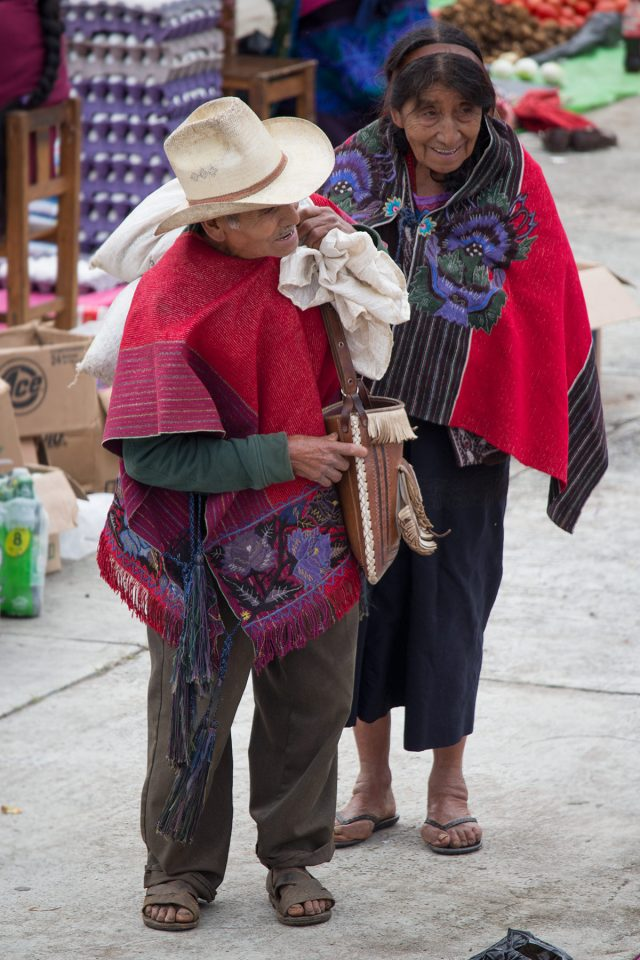 Old couple at market in Zinacantan