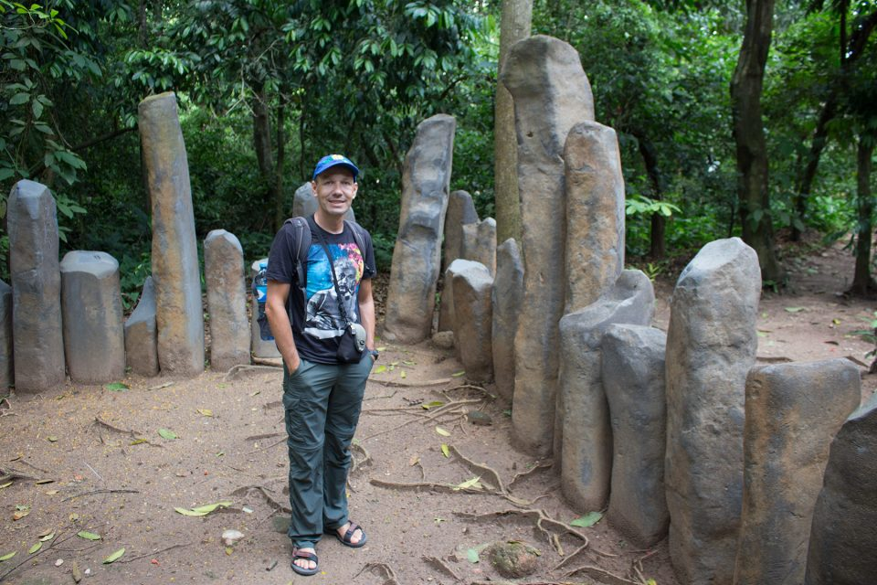 Thomas exploring Olmec structure at La Venta