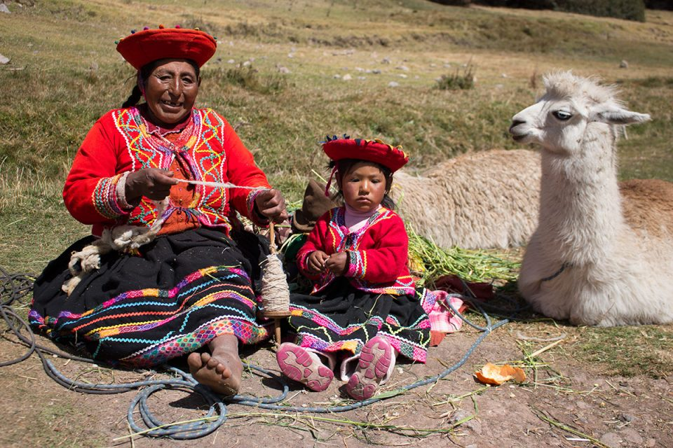 Grandmother and granddaughter at Tambomachay near Cusco