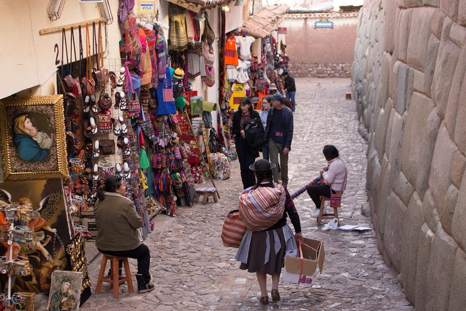 Cusco's streets are lined with tourist kitsch